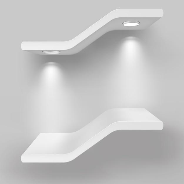 Prateleiras de exposição com fontes de luz Vetor Premium