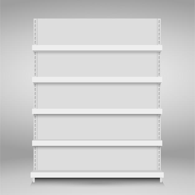Prateleiras de loja de vetor vazio branco. prateleira de varejo. carrinho de supermercado Vetor Premium