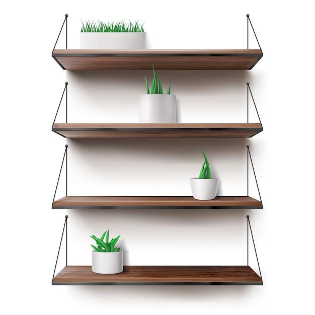 Prateleiras de madeira penduradas em cordas com vasos de plantas Vetor grátis