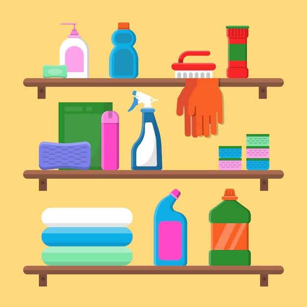 Prateleiras de mercadorias para uso doméstico. garrafas de detergente químico na composição plana de vetor de serviço de lavanderia Vetor Premium