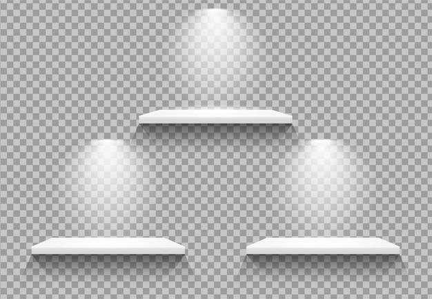 Prateleiras vazias com lâmpada Vetor Premium