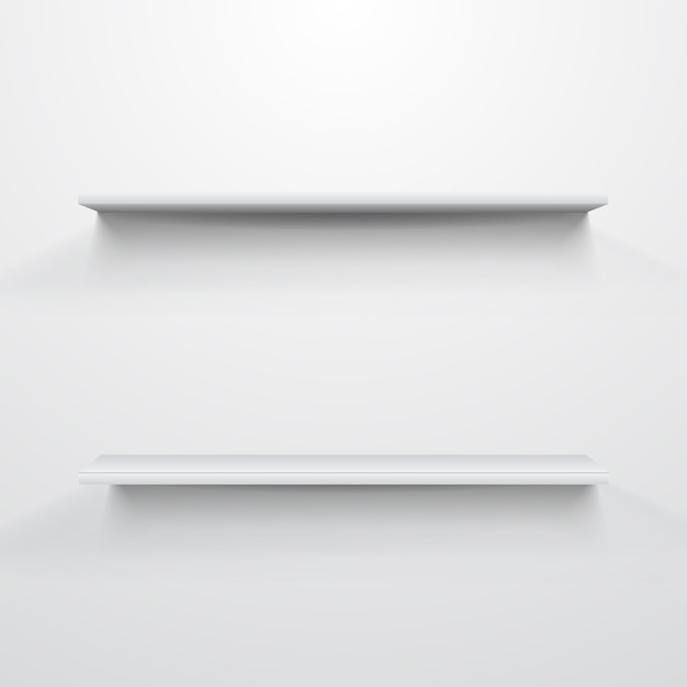 Prateleiras vazias de brancas sobre fundo cinza claro. Vetor Premium