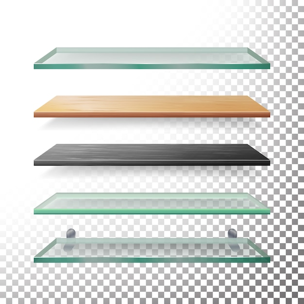 Prateleiras vazias de vidro e madeira Vetor Premium