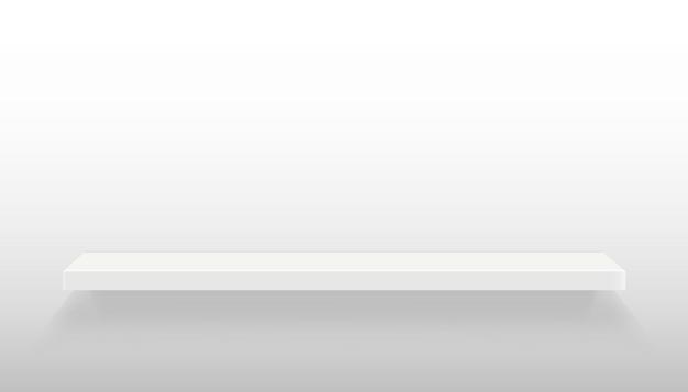 Prateleiras vazias definidas na parede isolada no fundo. Vetor Premium