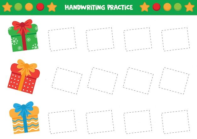 Prática de caligrafia com caixas de presente de natal. Vetor Premium