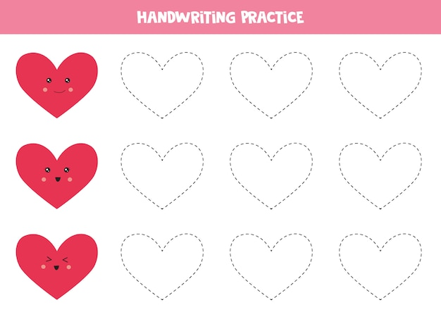 Prática de caligrafia com corações. Vetor Premium