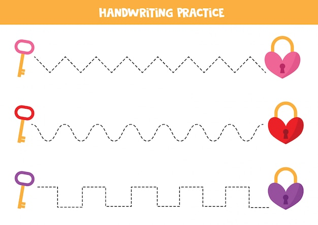 Prática de caligrafia com fechaduras e chaves de coração. Vetor Premium