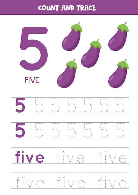 Prática de caligrafia para crianças. número cinco. berinjelas dos desenhos animados. Vetor Premium