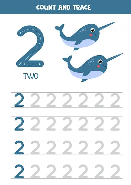 Prática de caligrafia para crianças. número dois. narvais dos desenhos animados. Vetor Premium
