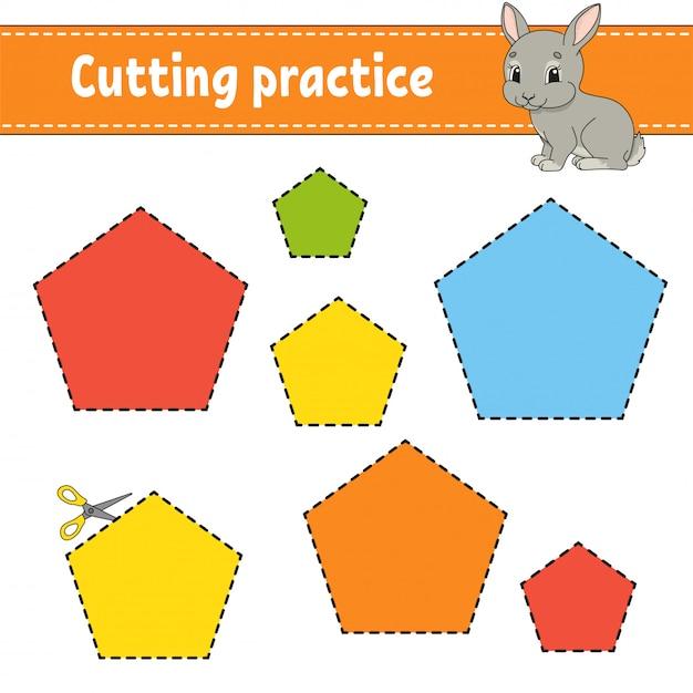 Prática de corte para crianças. Vetor Premium