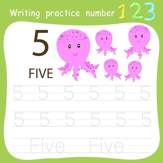 Prática de escrita da planilha número cinco Vetor Premium