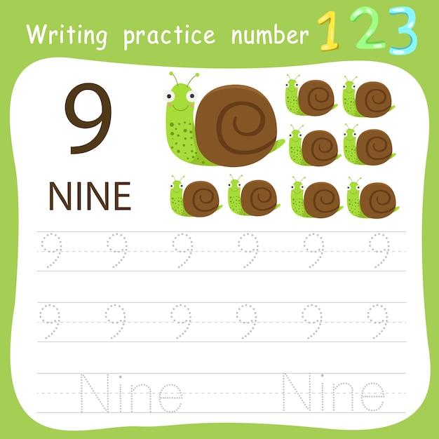Prática de escrita de planilha número nove Vetor Premium