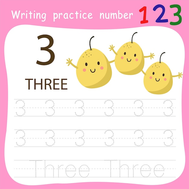 Prática de escrita de planilha número três Vetor Premium