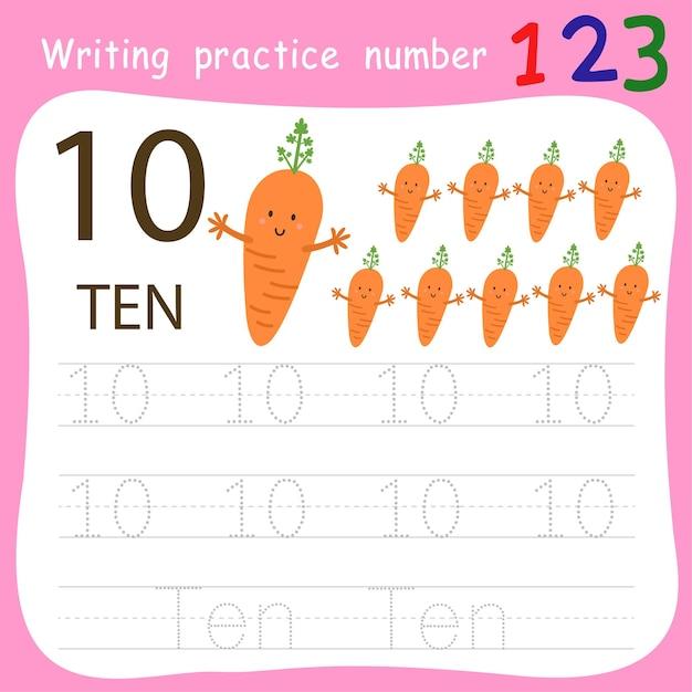Prática de escrita número dez Vetor Premium