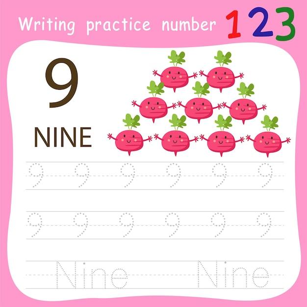 Prática de escrita número nove Vetor Premium