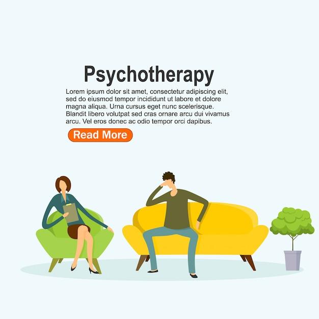 Prática de psicoterapia, paciente consultor psiquiatra. tratamento de transtorno mental. ilustração vetorial Vetor Premium