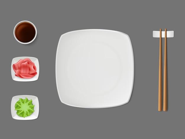 Prato de sushi, molhos em vetor realista de pires Vetor grátis