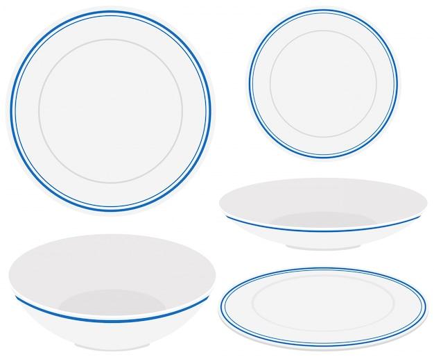 Pratos brancos com guarnição azul Vetor grátis