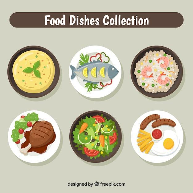 Pratos coleção com comida diferente Vetor grátis
