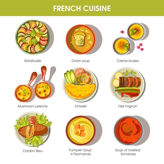 Pratos de comida de cozinha francesa para modelos de vetor de menu Vetor Premium