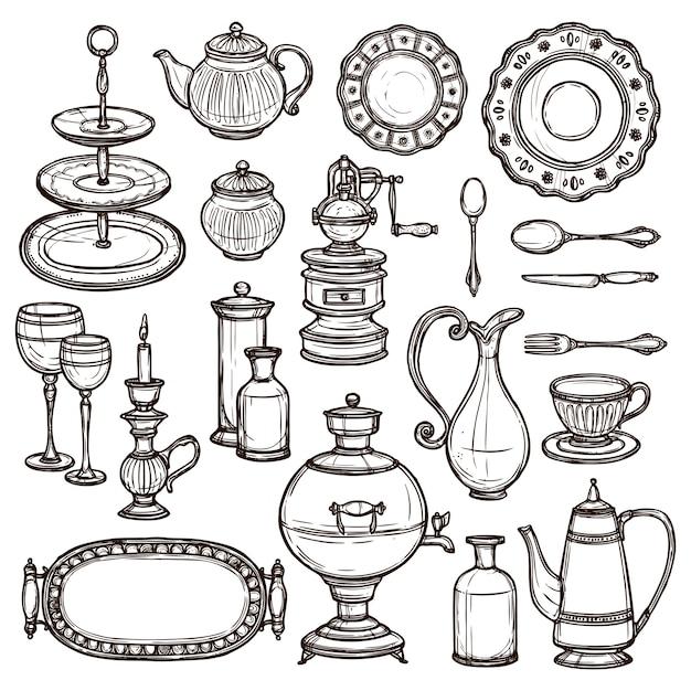Pratos doodle esboço conjunto de ícones impressão Vetor grátis