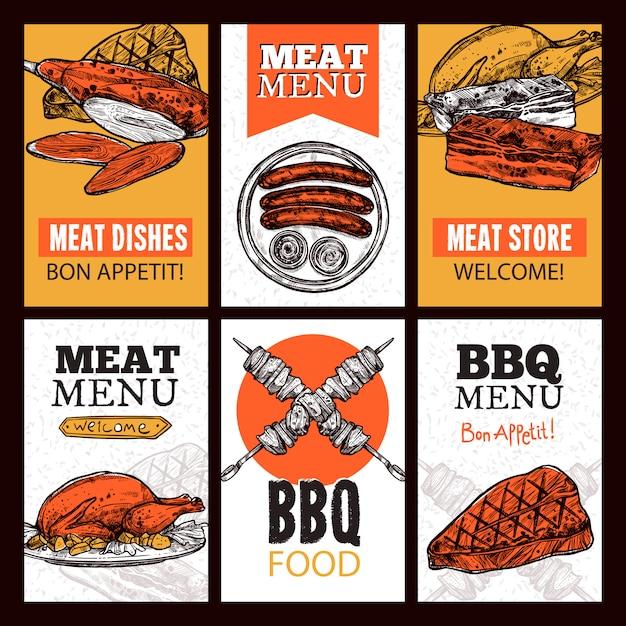 Pratos verticais de pratos de carne Vetor grátis