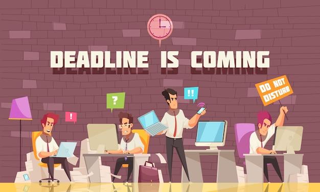 Prazo está chegando ilustração plana com empresários ocupados com trabalho urgente e debate Vetor grátis