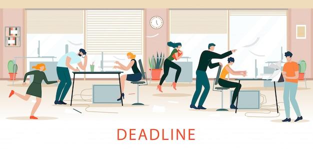 Prazo situação, office chaos, escassez de tempo. Vetor Premium