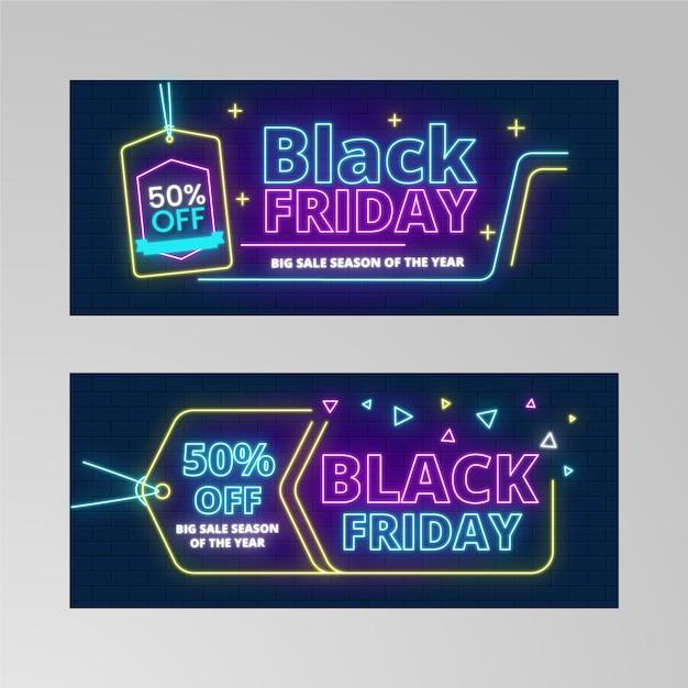 Preço luzes neon para banner preto sexta-feira Vetor grátis