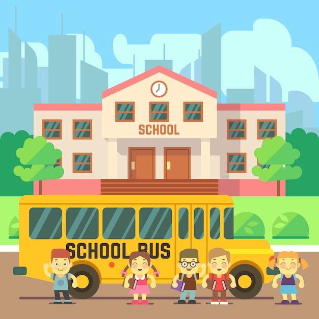 Prédio da escola em estilo simples Vetor Premium