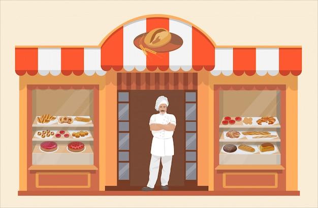 Prédio de padaria com produtos de padaria e padeiro Vetor Premium