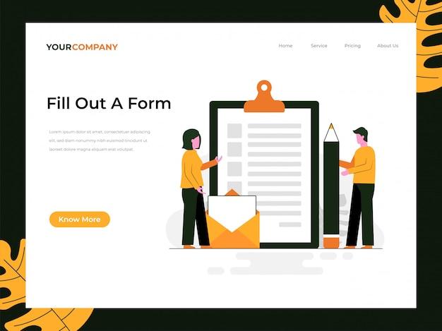 Preencha uma página de destino do formulário Vetor Premium
