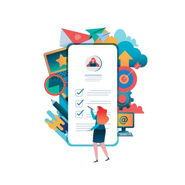 Preencher um formulário. aplicação online. Vetor Premium