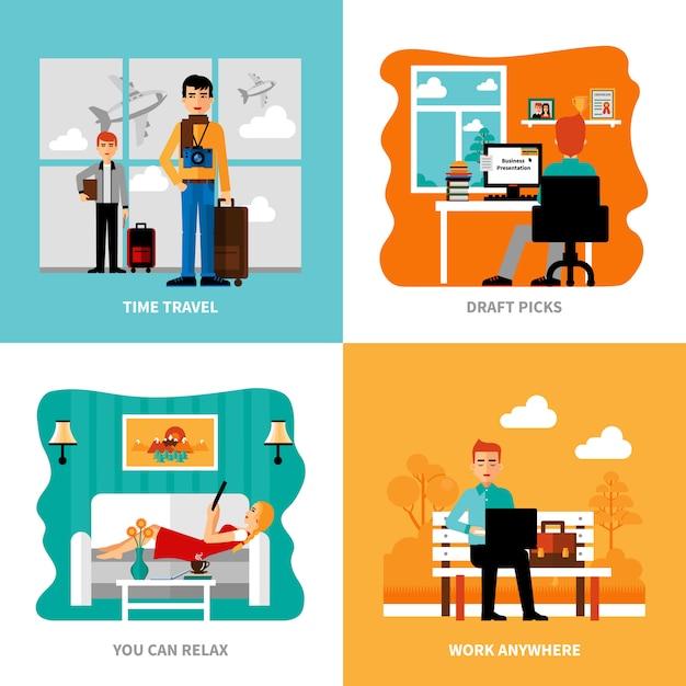 Preferências do conjunto freelancer Vetor grátis