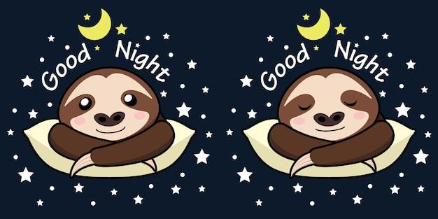 Preguiça boa noite banner. Vetor Premium