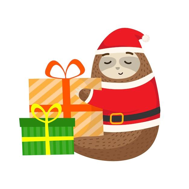 Preguiça com pano de papai noel e o presente de natal Vetor Premium