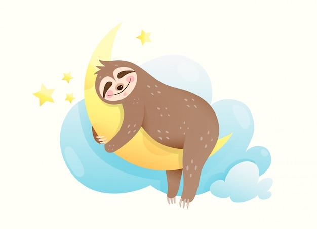 Preguiça de bebê dormindo olhos fechados, feliz sorrindo no sonho. filhote de animal doce abraçando a lua sonhando com estrelas e lua. Vetor Premium