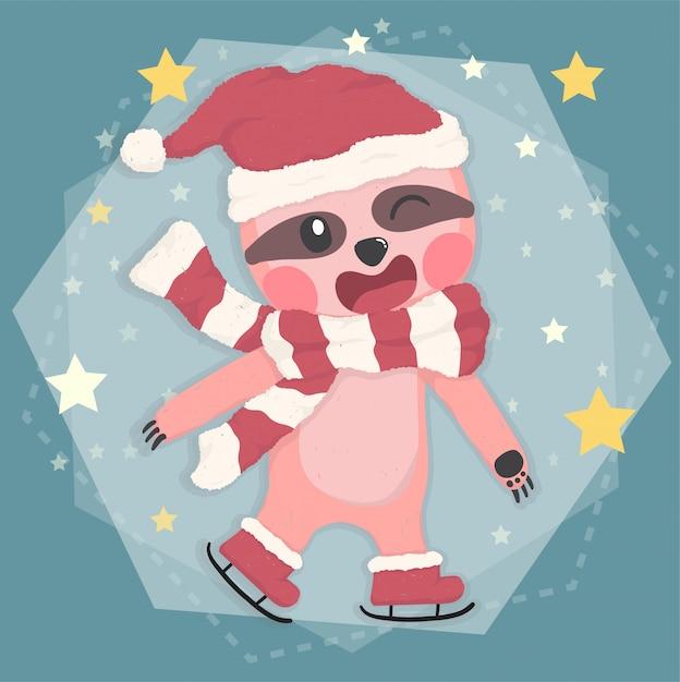 Preguiça feliz bonita em traje de inverno natal patinando em estrela caindo, animal de desenho vetorial plana Vetor Premium