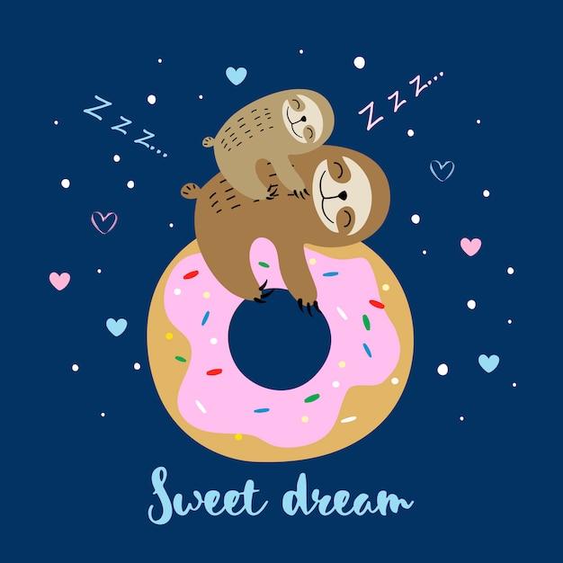 Preguiça feminina com um bebê dormindo em um donut doce Vetor Premium