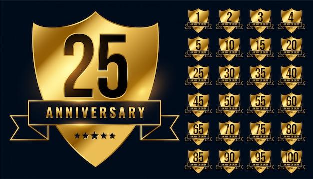 Prémio aniversário dourado emblema emblema grande conjunto Vetor grátis