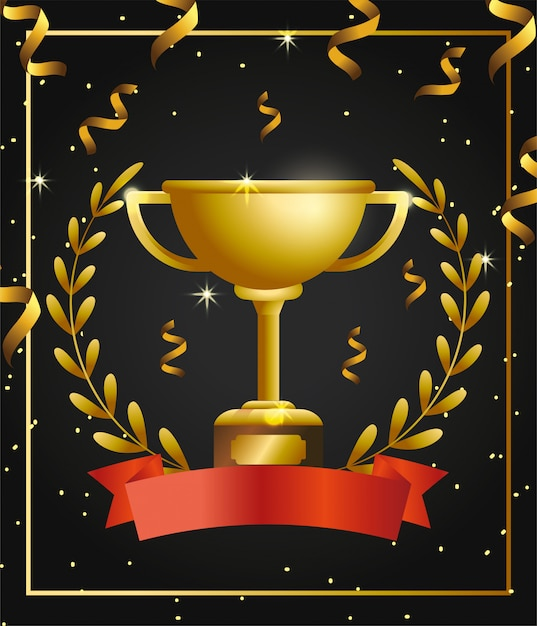 Prêmio da copa com folhas de ramos e confetes Vetor Premium
