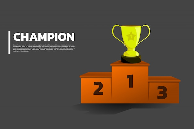 Prêmio da taça troféu de ouro no ranking do pódio. Vetor Premium