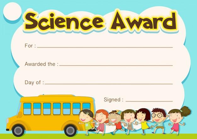 Prêmio de certificado com crianças e fundo de ônibus escolar Vetor grátis
