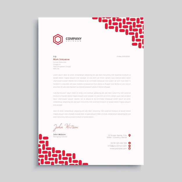 Prêmio de papel timbrado simples vermelho Vetor Premium