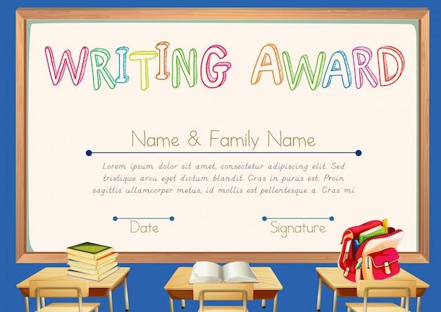 Prêmio de redação com fundo de sala de aula Vetor grátis