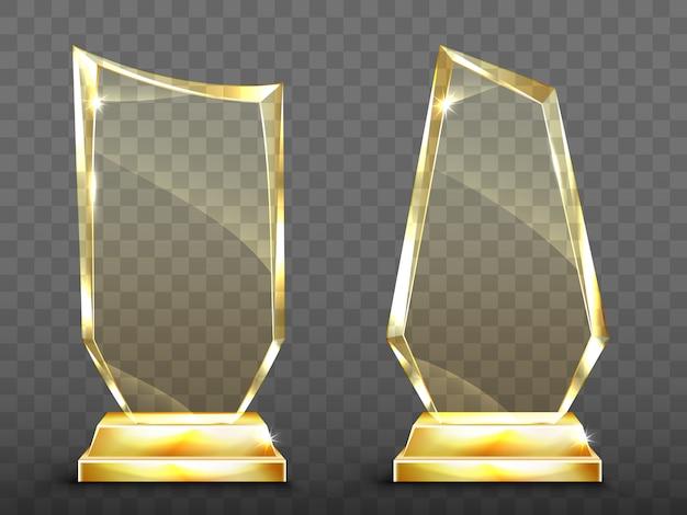 Prêmio de troféu de vidro realista de vetor na base de ouro Vetor grátis