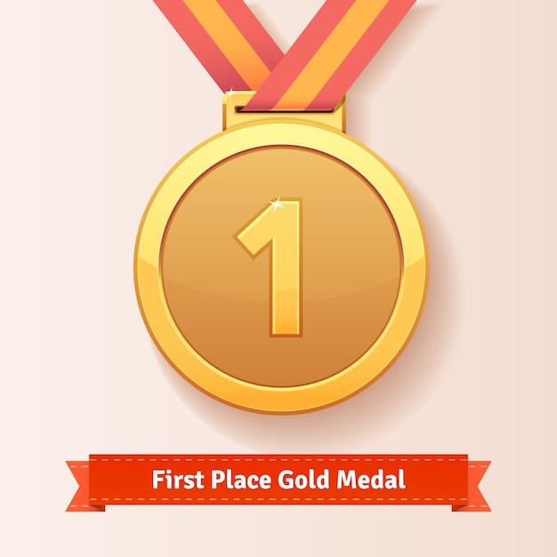 Prêmio do primeiro lugar medalha de ouro com fita vermelha Vetor grátis