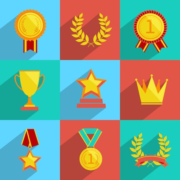 Prêmio ícones conjunto colorido Vetor grátis