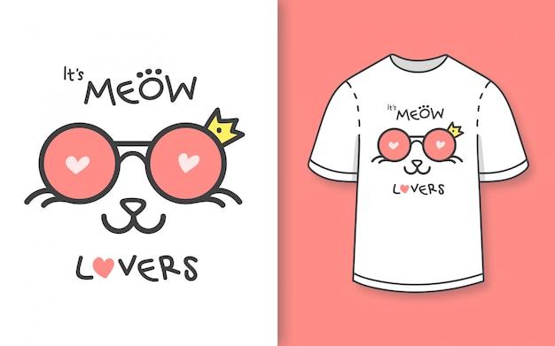 Prémio mão desenhada gato bonito amantes ilustração para camiseta Vetor Premium