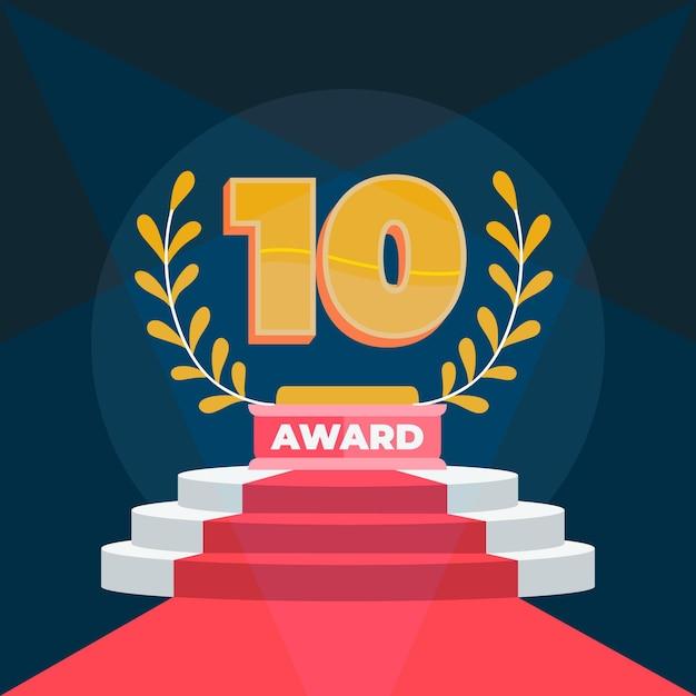 Prêmio top 10 de melhor pódio Vetor grátis